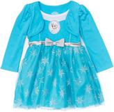 Children's Apparel Network Frozen Elsa Blue Layered Snowflake Dress - Toddler
