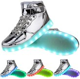 TUTUYU Kids&Adult 11 Colors LED Light Up Shoes High Top Flashing Sneakers for Christmas 39
