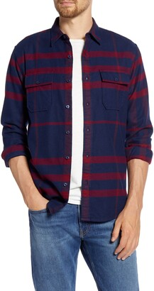 Frame Refined Classic Fit Plaid Flannel Button-Up Shirt