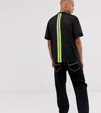 Collusion COLLUSION mesh t-shirt with reflective strip-Black