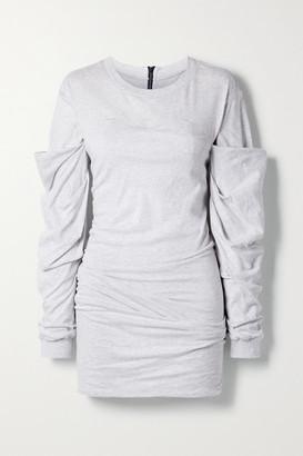 RtA Indya Ruched Cotton-jersey Mini Dress - Light gray