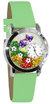 Whimsical Watches Women's S1210001 Butterflies Light Green Leather Watch