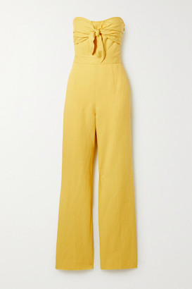 Derek Lam 10 Crosby Alene Strapless Linen, Lyocell And Cotton-blend Twill Jumpsuit - Yellow