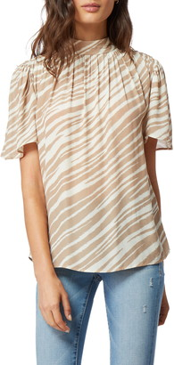 Habitual Chelsa Mock Neck Short Sleeve Blouse