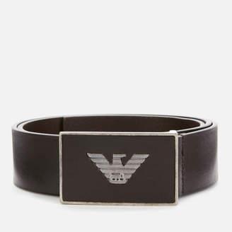 Emporio Armani Men's Solid Square Buckle Belt - Dark Brown - W30