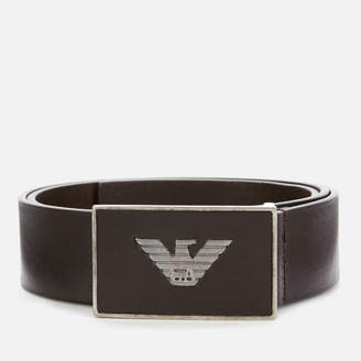 Emporio Armani Men's Solid Square Buckle Belt