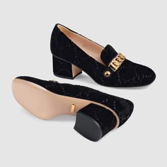 Gucci Sylvie GG velvet mid-heel pump