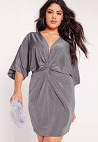 Missguided Plus Size Slinky Kimono Mini Dress Grey