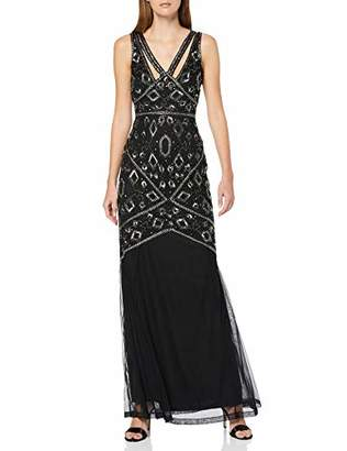 Frock and Frill Women's Henrietta Sleeveless Embellished Maxi Dress Party (Black #000000), (Size:)