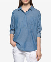 Calvin Klein Jeans Chambray Popover Blouse