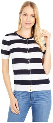 J.Crew Short Sleeve Cardigan in Featherweight Cashmere (Ink/Navy Snow) Women's Clothing