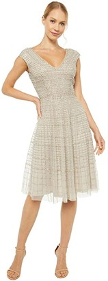 Adrianna Papell Midi Beaded Dress (Silver) Women's Dress
