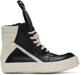 Rick Owens Black and Off-white Geobasket High-top Sneakers