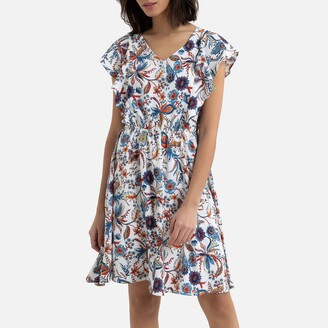 Molly Bracken Flared Mini Dress in Floral Print with Short Sleeves