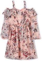 Speechless Pink Floral Shoulder Cutout A-Line Dress - Girls