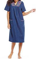 Go Softly Geometric-Embroidered Denim Patio Dress