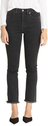 Veronica Beard Jeans Carly High-Rise Kick Flare Jeans with Raw Hem