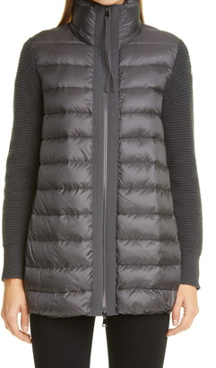 Moncler Quilted Down & Wool Long Cardigan