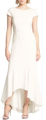 Halston Haltson Heritage Side Ruched High/Low Trumpet Gown