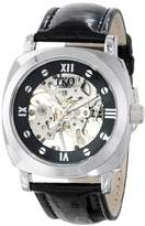TKO ORLOGI Women's TK629BB Black Leather Mechanical Skeleton Watch