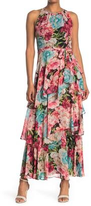 Tahari ASL Floral Tiered Maxi Dress