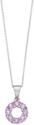 SIRI USA by TJM Sterling Silver Amethyst Circular Pendant Necklace