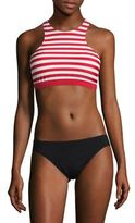 MICHAEL Michael Kors Stable Striped High Neck Bikini Top