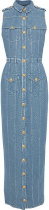 Balmain Button-detailed Denim Maxi Shirt Dress