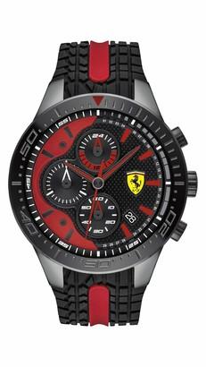 Ferrari Men's RedRev Quartz Black IP and Silicone Strap Casual Watch Color: Black (Model: 830592)