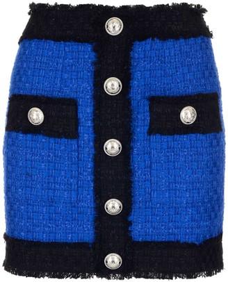 Balmain Colour Block Tweed Mini Skirt