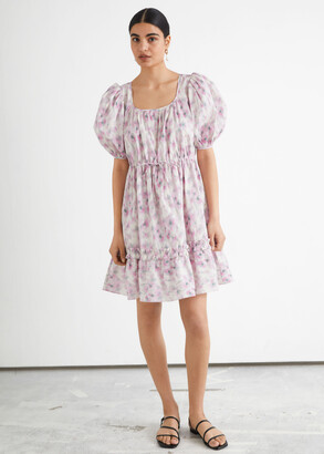 And other stories Tiered Puff Sleeve Mini Dress