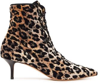 Francesco Russo Lace-up Leopard-print Velvet Ankle Boots