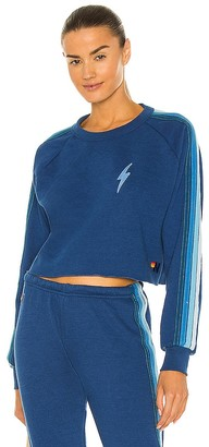 Aviator Nation Bolt Embroidery Cropped Classic Sweatshirt