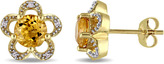 Laura Ashley 1 4/7 CT TW Genuine Citrine and Diamond 10K Gold Flower Stud Earrings