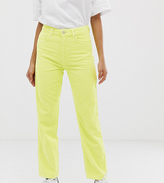 Asos Tall DESIGN Tall Florence authentic straight leg jeans in neon yellow cord