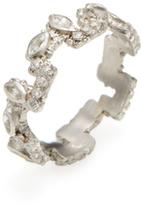 Armenta New World Sterling Silver, White Sapphire & 0.12 Total Ct. Diamond Greek Key Stack Ring