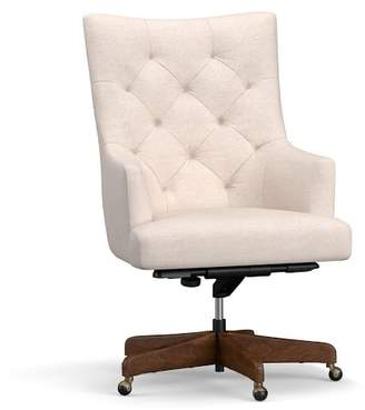 Pottery Barn Radcliffe Tufted Upholstered Swivel Desk Chair