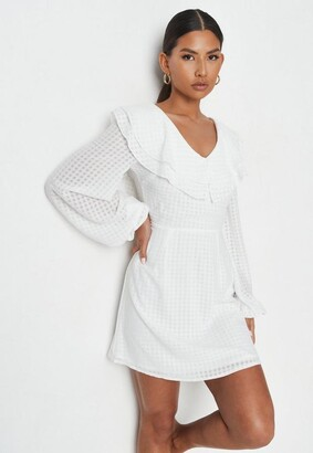 Missguided White Plaid Textured Frill Bust Skater Dress