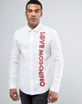 Love Moschino Shirt With Logo Print In Slim Fit