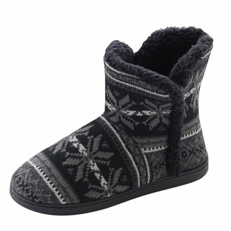 TEELONG Womens Snow Boots Fashion Soft Warm Winter Home Short Boots Thick Cotton Shoes Black Size 4 5 6 7 UK