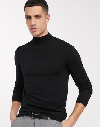 Asos DESIGN muscle fit merino wool turtleneck sweater in black