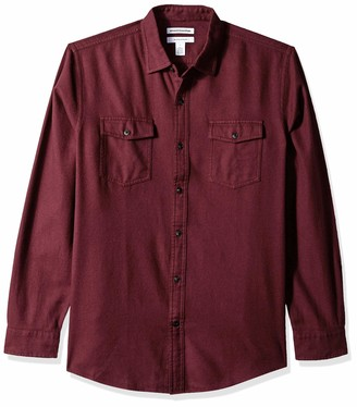 Amazon Essentials Regular-fit Long-sleeve Solid Flannel Shirt Button