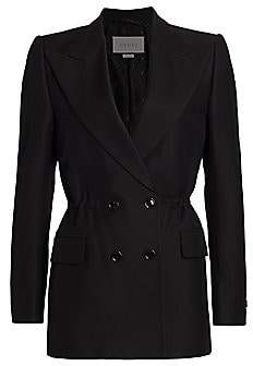 Gucci Women's Cady Crepe Cinched Double Breasted Blazer