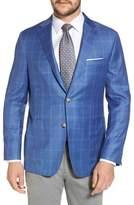 Hickey Freeman Global Guardian Classic B Fit Windowpane Wool Sport Coat