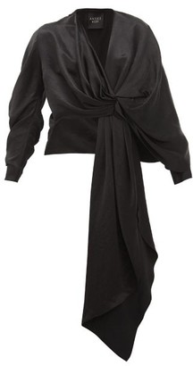 A.W.A.K.E. Mode Dramatic Draped Satin Top - Black