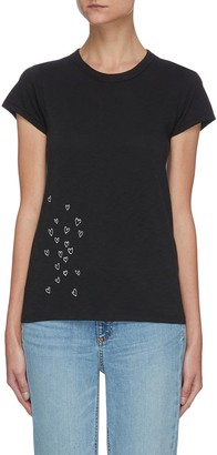 Rag & Bone/JEAN Embroidered Scatter Heart Knit T-Shirt