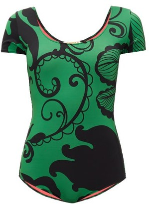 La DoubleJ Short-sleeved Marea-print Swimsuit - Green Print