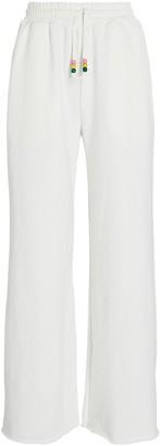 STAUD Logo Cotton Wide-Leg Sweatpants