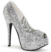 "BORDELLO TEEZE-22G Women's Hidden Platform Peep Toe Pump 5 3/4"" Stiletto Heel, Color:Silver Glitter, Size:8"