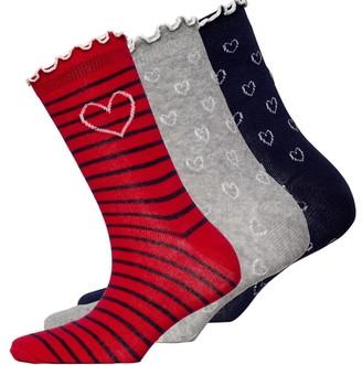 Lovestruck Womens Three Pack Frill Socks Heart